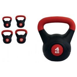 Ud. Kettlebell PVC rojo/negro talla 12 kg.