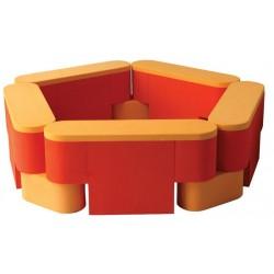 Parque modular soft guarda material 5 módulos y 5 piezas de unión