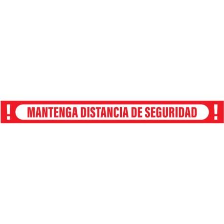 Vinilo adhesivo apaisado rojo mantenga distancia de seguridad