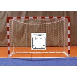Jgo. Porterías fútbol sala / balonmano alum. 80x80 mm tras.base 80x40 mm.