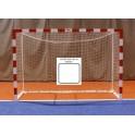 Jgo. Porterías fútbol sala / balonmano madera 80x80 mm. tras.base 80x40 mm.