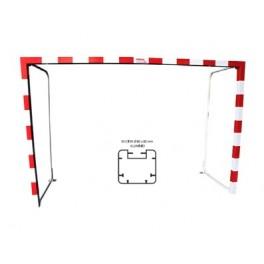 Jgo. Porterías fútbol sala / balonmano alum. 80x80 mm. abatibles