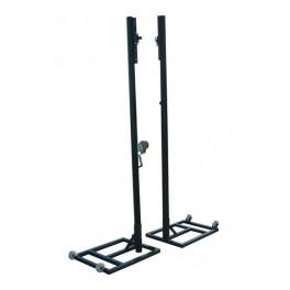 Jgo. Postes voleibol metal. 80x80 mm trasladables cuadrados