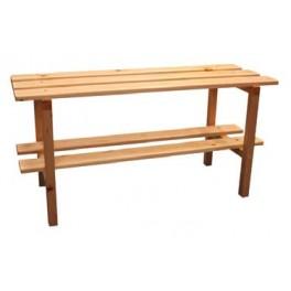 Ud. Banco vestuario sencillo con patas madera y zapatillero