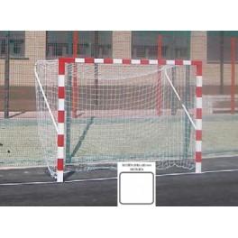 Jgo. Porterías fútbol sala / balonmano fijas metal. Secc. 80x80 mm